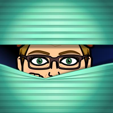Mrs. Block bitmoji peaking through the blinds