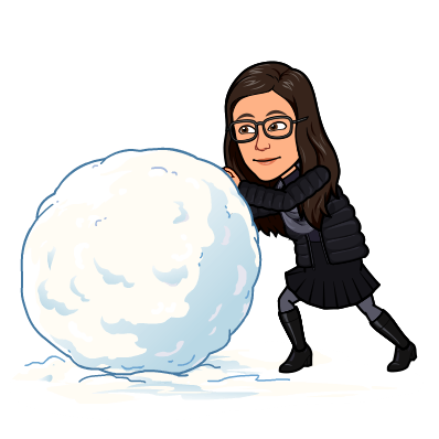 Bitmoji of Colleen rolling a giant snowball