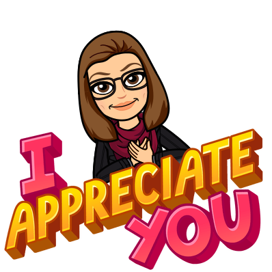 "A Bitmoji with the slogan ""I appreciate you"""