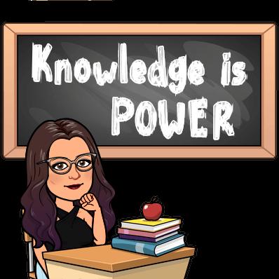 "Bitmoji of Tess in front of blackboard stating ""Knowledge is Power"""