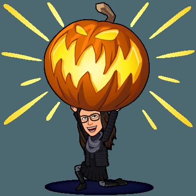Bitmoji Colleen lifting a pumpkin