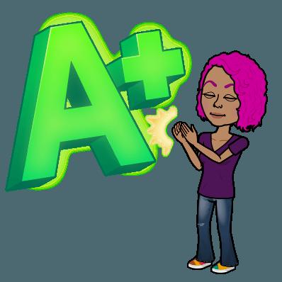 Bitmoji of Ms. Santiago with an A+