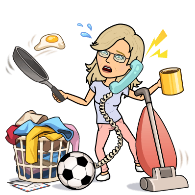 Bitmoji Image Jean Cogdell doing housework