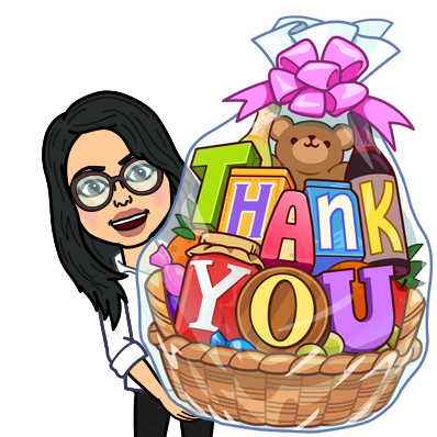 you holding a giant gift basket that says thank you