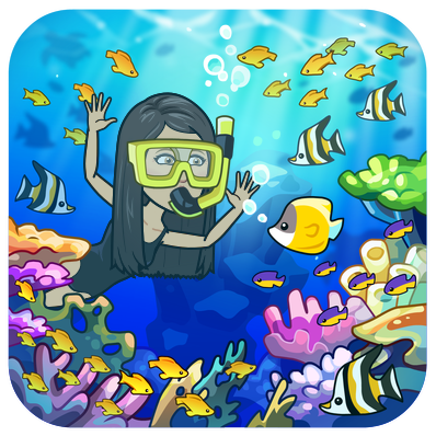 snorkeling under water with fish