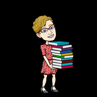 Heather's bitmoji avatar holding books