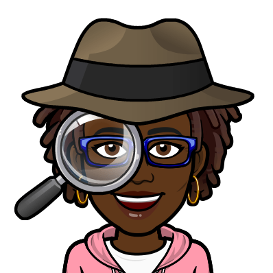 "Black Woman BitMoji with dreadlocks and a detective hat holding a magnifying glass. Caption says ""Searching."""